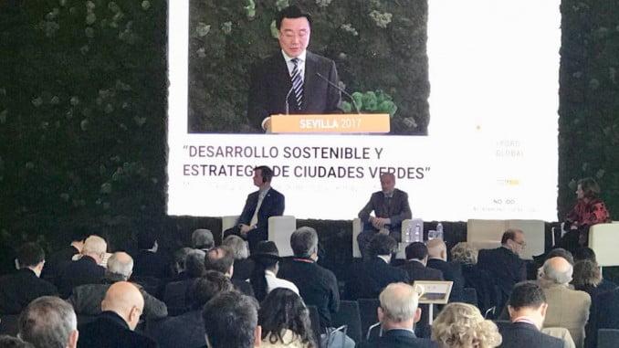 Una de las sesiones de trabajo del I Foro Global que se celebra en Sevilla y en el que participa el Ayuntamiento de Huelva.