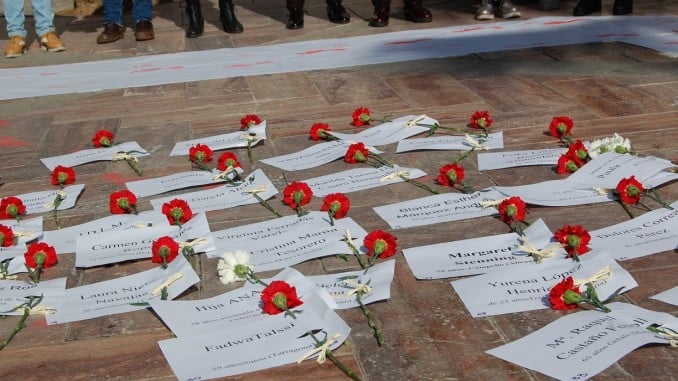 En un acto de CCOO se han leído los nombres de las 44 mujeres asesinadas