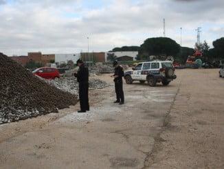 Las piñas intervenidas se encontraban en una nave del barrio de San José en Mazagón