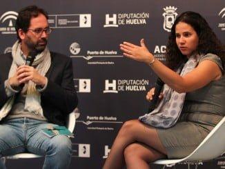 La productora y guionista Amelia del Mar Hernández en la presentación de 'El hombre que cuida'