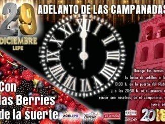 Cartel anunciador del adelanto de campanadas en Lepe