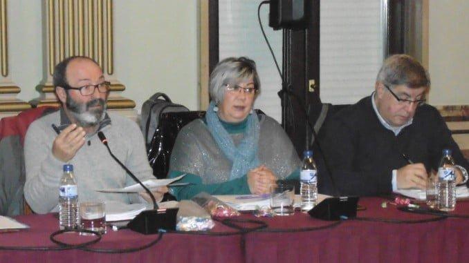 El grupo municipal de IU durante el último pleno municipal de Huelva
