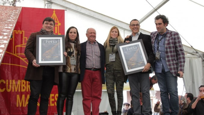 El presidente de la Diputación y el alcalde de Huelva en la muestra gastronómica de Cumbres Mayores