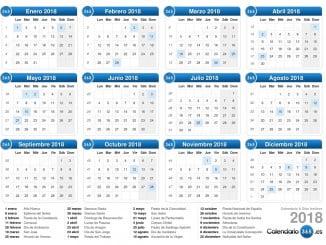 El calendario laboral para 2018 recoge un total de 13 días festivos nacionales