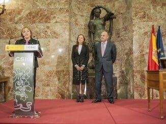 Rosa Menéndez, durante la toma de posesión en la sede central del CSIC en Madrid.