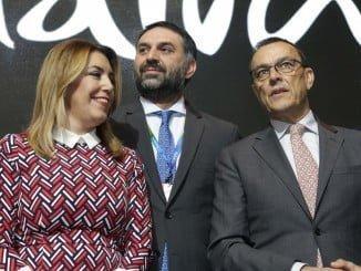 Caraballo, on la presidenta de la Junta de Andalucía en la inauguración del pabellón de Andalucía