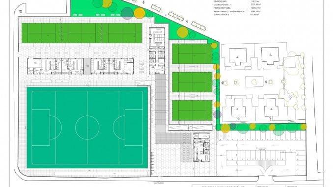 Plano del proyecto de urbanización del polideportivo Las Américas