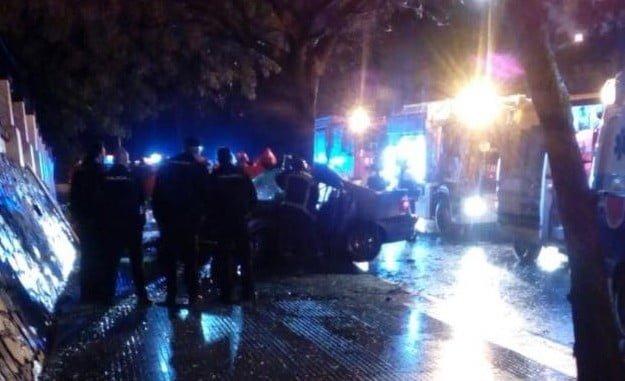 Imagen del accidente de esta noche en la Avenida de La Cinta