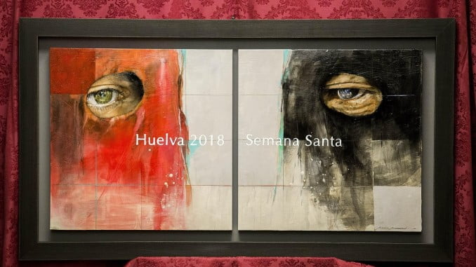 Un primer plano de dos nazarenos protagoniza el cartel de la Semana Santa de Huelva