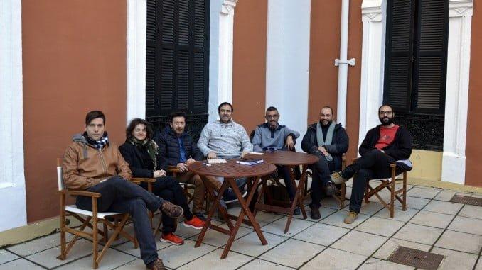 Foto de familia de los responsables de las editoriales asociadas a Ediwuelva