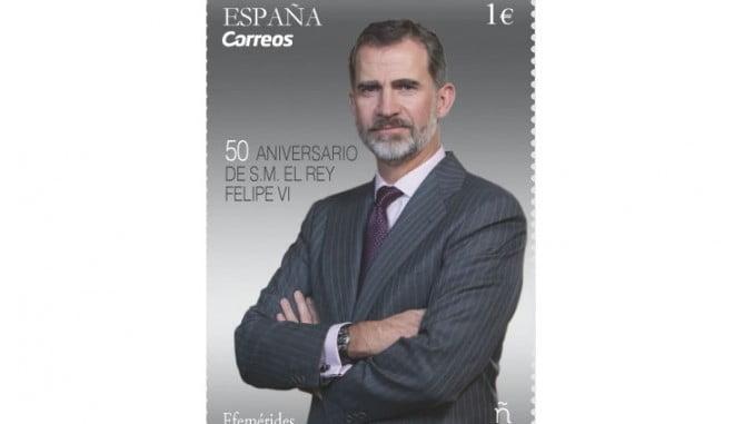 Sello conmemorativo del 50 cumpleaños del Rey Felipe VI