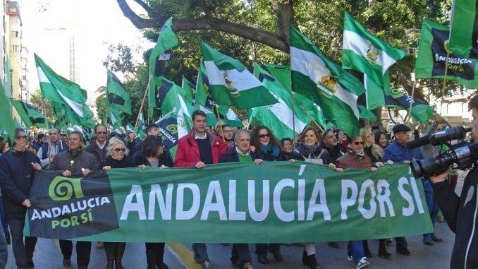 Andalucía Por Sí, en la manifestación celebrada en Málaga el 3 D