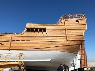 La Nao Santa María se construyue en los astilleros de Punta Umbría