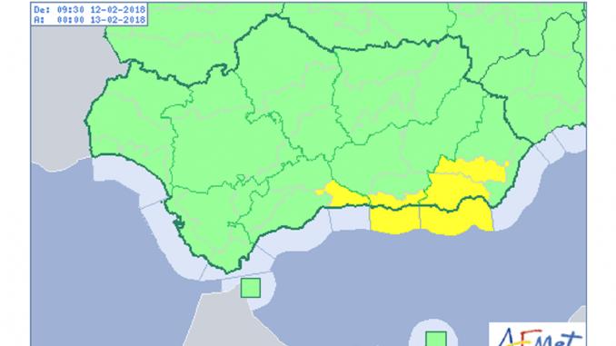 Las costa de Almería, Granada y Málaga, en aviso amarillo
