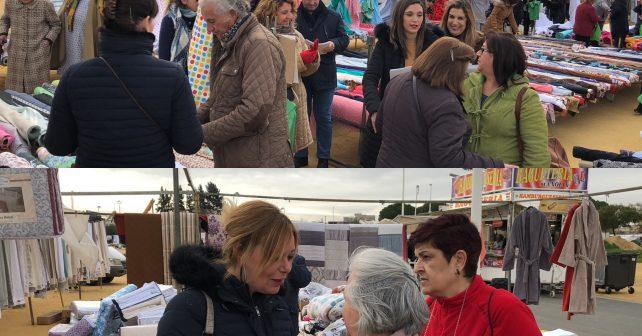 El PSOE ha repartido en el mercadillo material informativo de la campaña 'Conquistando Derechos'