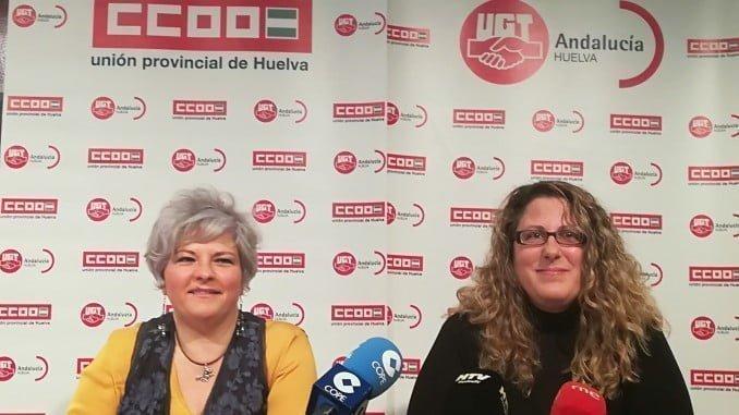 Rueda de prensa de las representantes de UGT y CC OO para animar a la participación de la huelga del Día de la Mujer